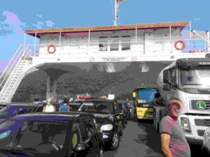 Fähre in der Bucht von Kotor_